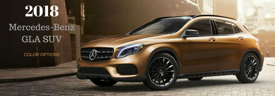2018 Mercedes-Benz GLA SUV Color Options, text on an image of a driver side exterior view of a Canyon Beige Metallic 2018 Mercedes-Benz GLA SUV
