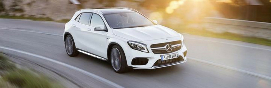 2018 Mercedes-Benz GLA in White on the road