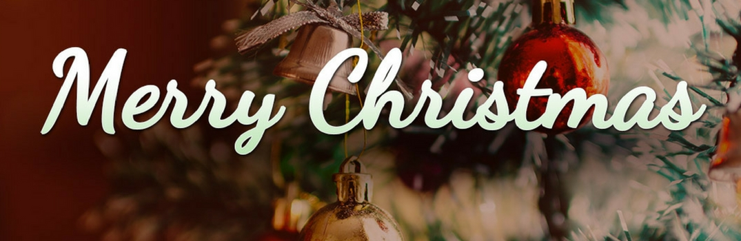 Banner that reads Merry Christmas on tree background