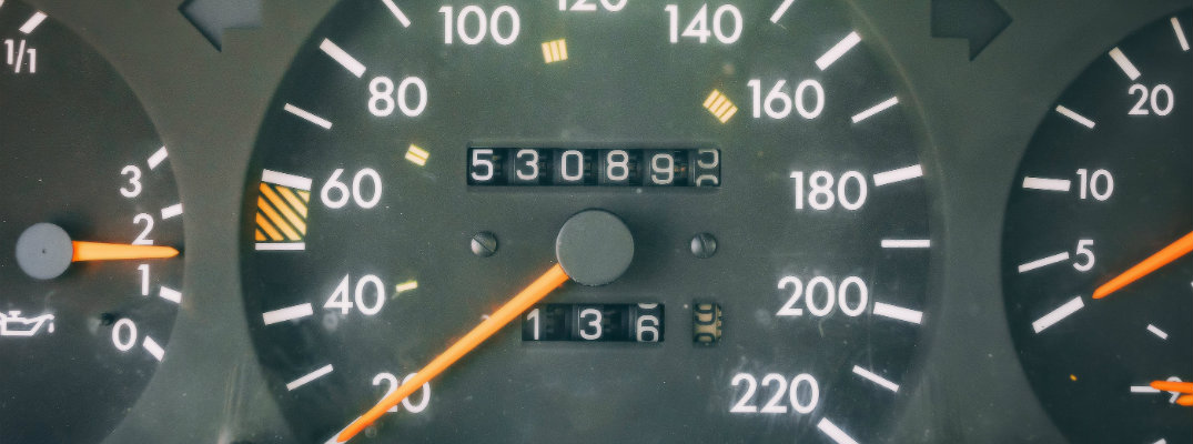 Close up odometer shot showing the mileage