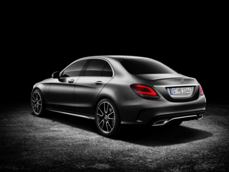 rear and side view of silver 2018 mercedes-benz c 300 sedan