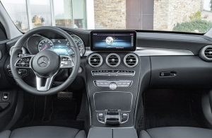 2019 Mercedes-Benz C-Class dashboard and steering wheel