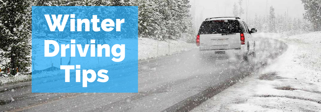 "car driving in winter with text ""winter driving tips"""