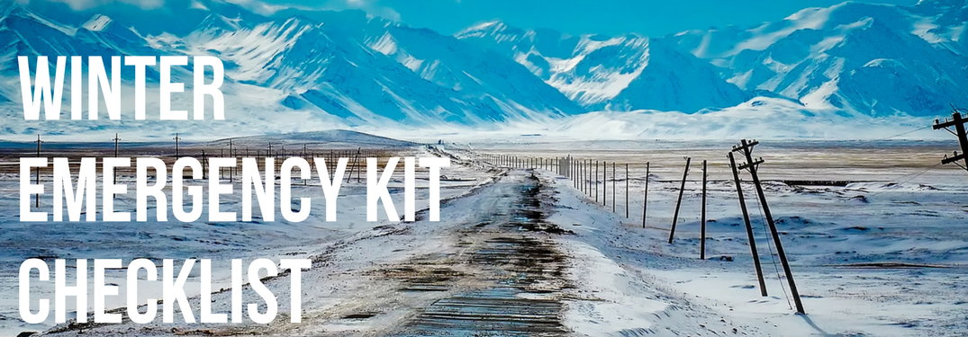 Winter Emergency Kit Checklist on winter road background