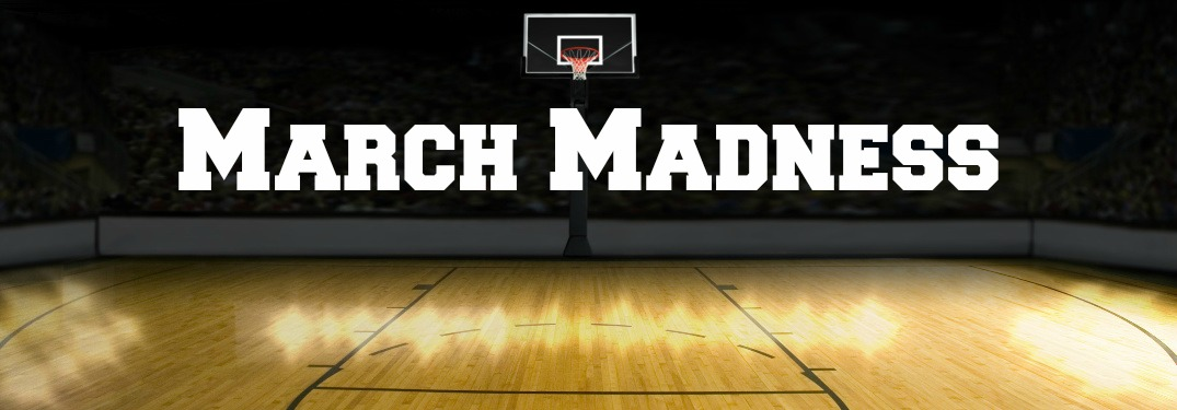 basketball court with March Madness text overlaid