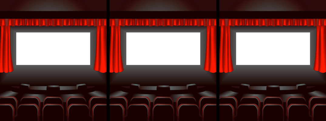 Three movie theaters with blank screens and red curtains