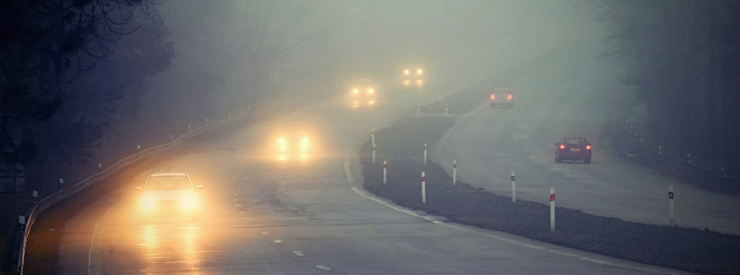 Cars Driving Through Fog with Headlights on