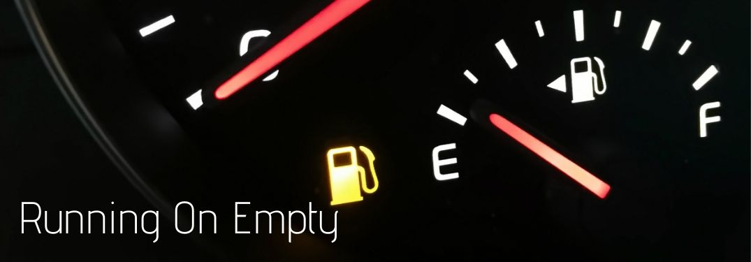 Running on Empty text with a fuel gauge showing empty