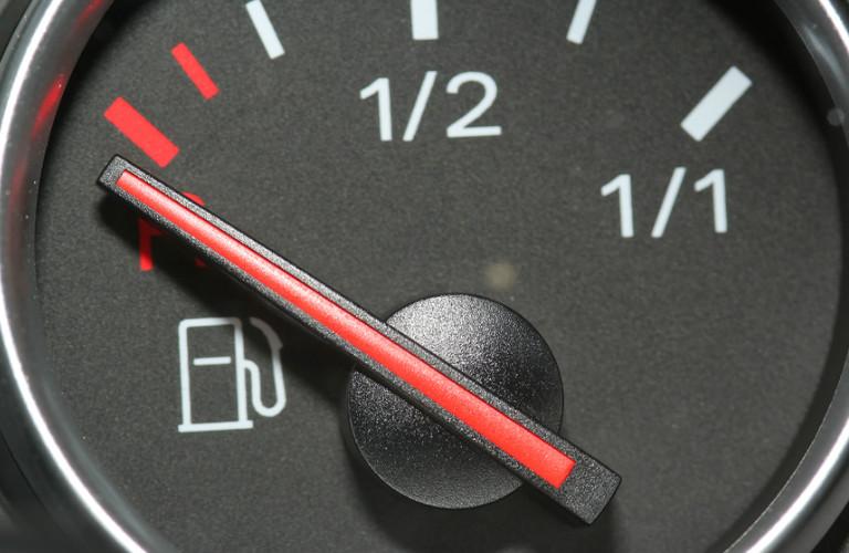 closeup of fuel gauge on empty