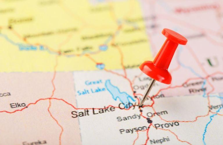 tack on a map of Salt Lake City Utah