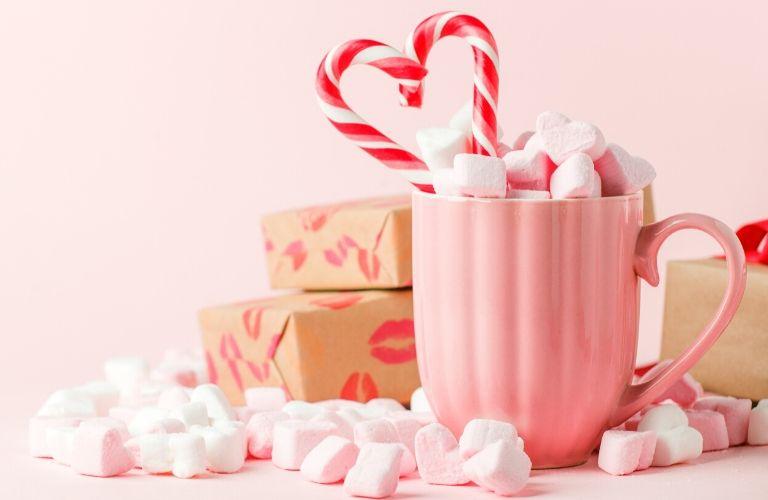 Valentine candy and sugary treats