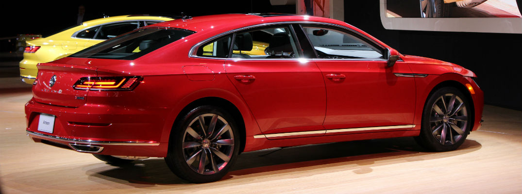 A right profile view of a red 2019 Volkswagen Arteon after it was announced it would be for sale in the U.S. at the Chicago Auto Show