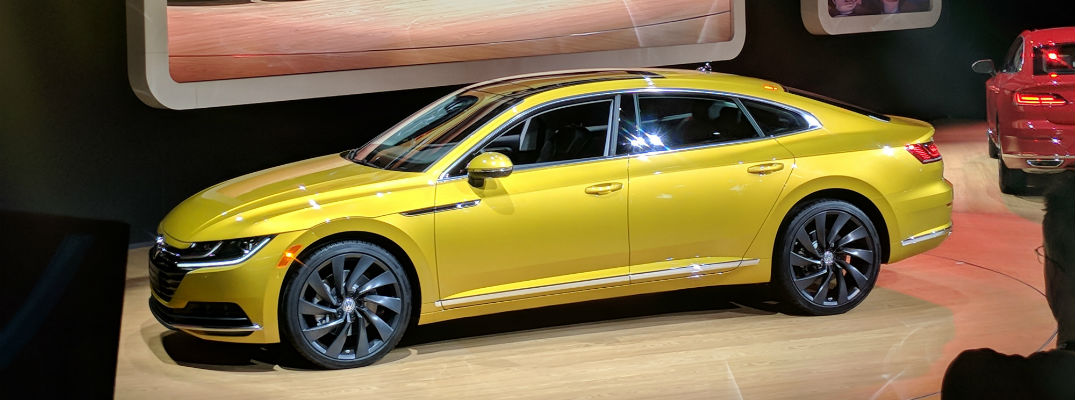 A left profile view of the 2018 Volkswagen Arteon at the 2018 Chicago Auto Show