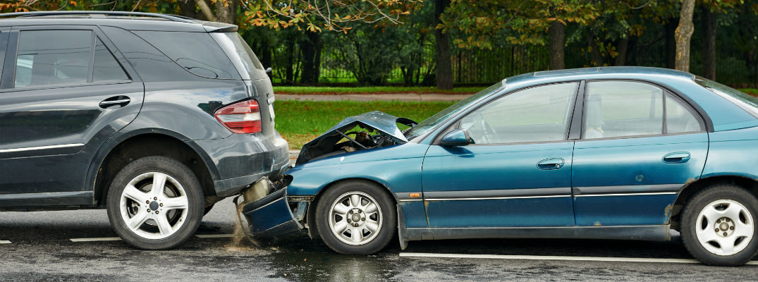 A stock photo of a traffic accident where a vehicle was rear-ended.
