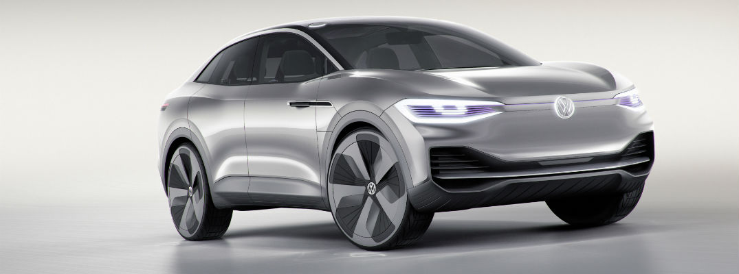 A front right quarter photo of a new Volkswagen electric concept vehicle