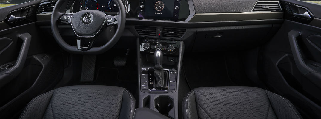 A photo of the interior of the 2019 VW Jetta showing its larger cup holders.