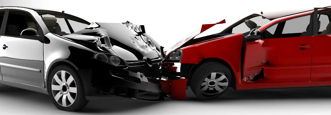 two cars in a head on collision