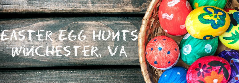 Easter Egg Hunts Winchester, VA written next to basket of eggs