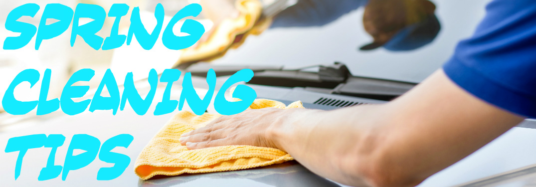 Spring Cleaning Tips text next to man waxing car