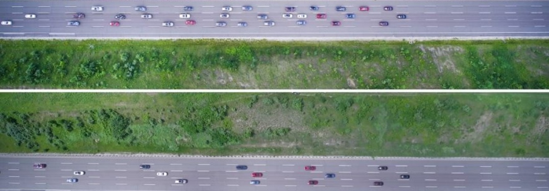 Overhead view of two busy highways