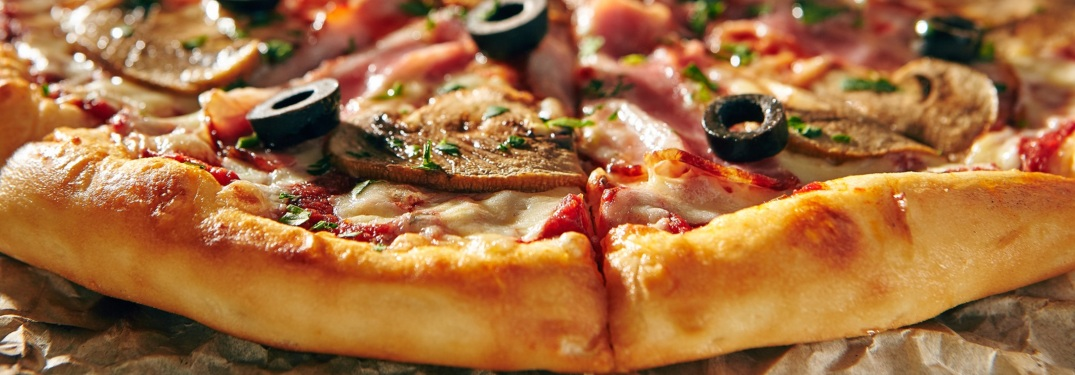 Close up of pizza and crust