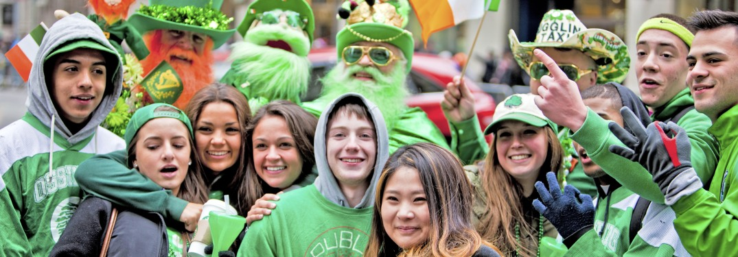 Group of people dressed up for St. Patrick's Day