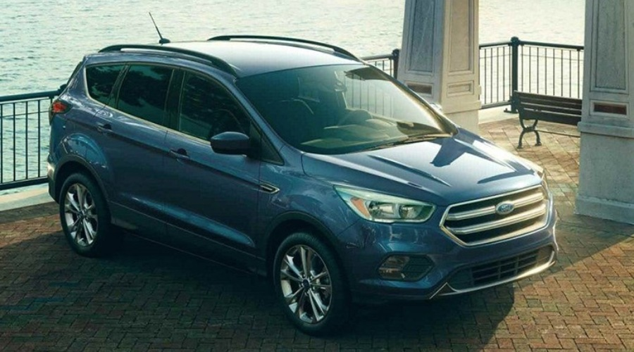 Overhead view of a blue 2019 Ford Escape