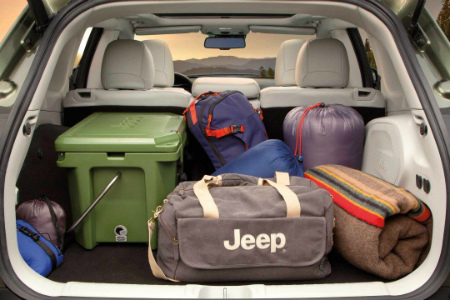 Cargo and luggage in the back of a 2019 Jeep Cherokee