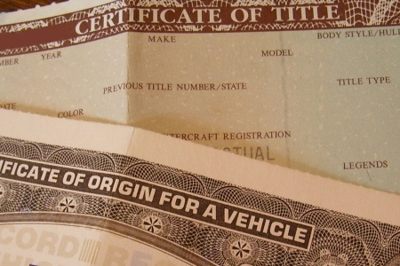 Car title and documents