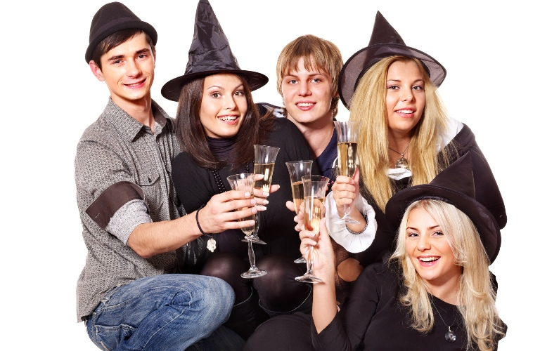 Group of Young People Having Fun for Halloween