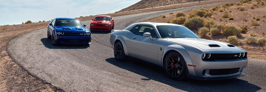 2020 Dodge Challenger Sports Cars on Dirt Road