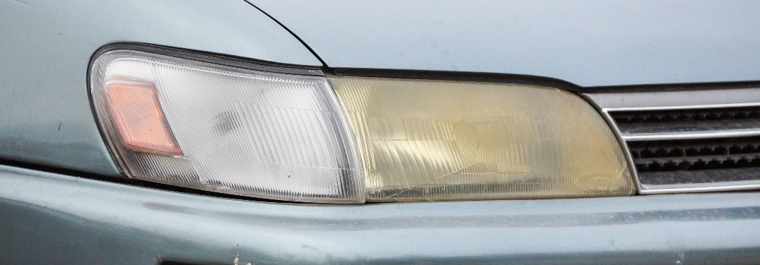discolored headlight on old vehicle