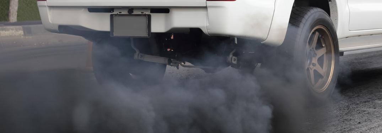 Truck expelling diesel exhuast