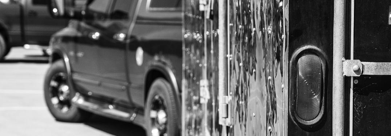 truck pulling big trailer close-up shot