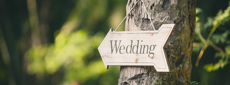 Soft Focus on a Hand-Made Wedding Sign