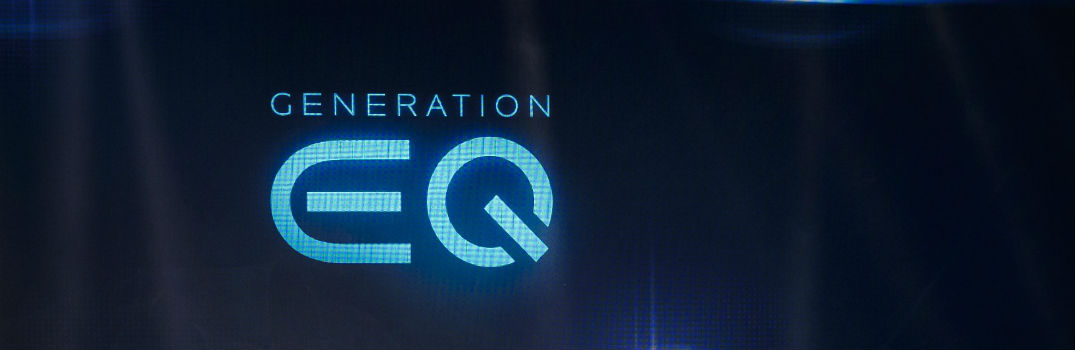 "the words ""Generation EQ"" in electric blue on a dark blue background"