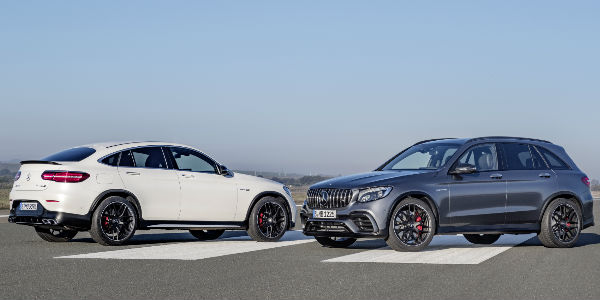 White Mercedes-AMG GLC63 Coupe and Gray Mercedes-AMG GLC63 SUV on Runway