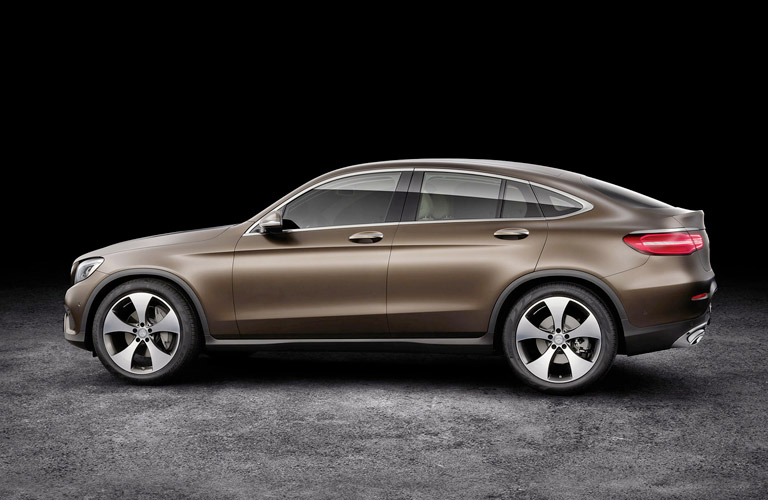 2017 Mercedes-Benz GLC Coupe seen from the side in brown