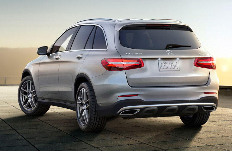 rear view of the 2017 Mercedes-Benz GLC SUV against a sunset