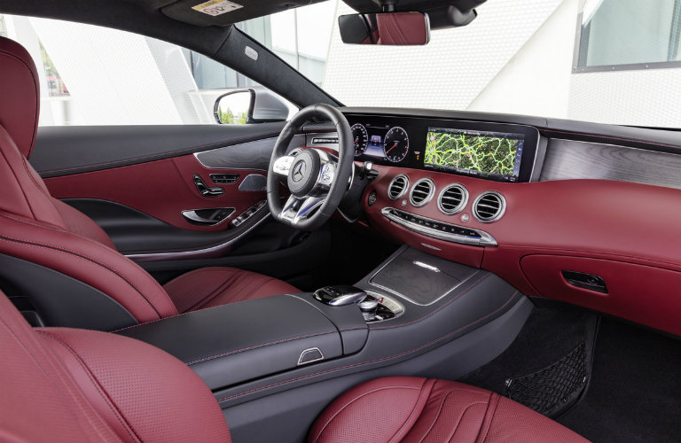 interior dashboard view of the 2018 Mercedes-Benz S-Class Coupe in burgundy
