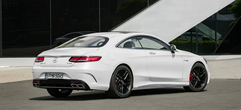 side and rear view of a white 2018 Mercedes-Benz S-Class Coupe