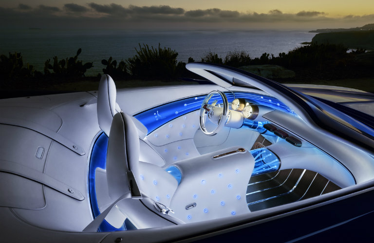 Vision Mercedes-Maybach 6 Cabriolet electric concept car interior glowing at night