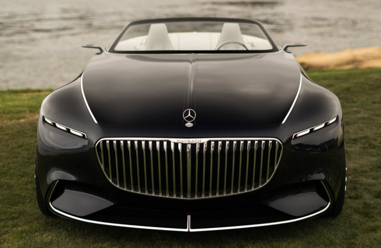 front grille view of the black Vision Mercedes-Maybach 6 Cabriolet