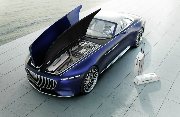 the hood up and luggage ready to go in the Vision Mercedes-Maybach 6 Cabriolet