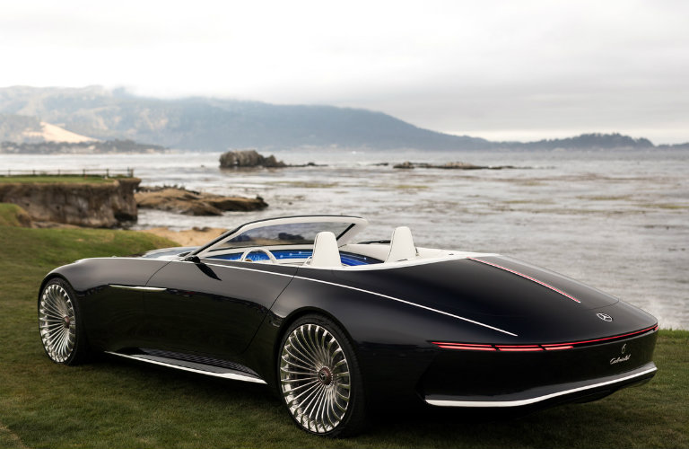 Vision Mercedes-Maybach 6 Cabriolet seen from the rear in front of water