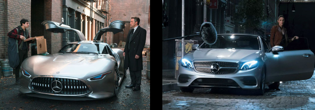 images of the Mercedes-Benz AMG® Vision Gran Turismo and Mercedes-Benz E-Class Cabriolet which will appear in the Justice league movie
