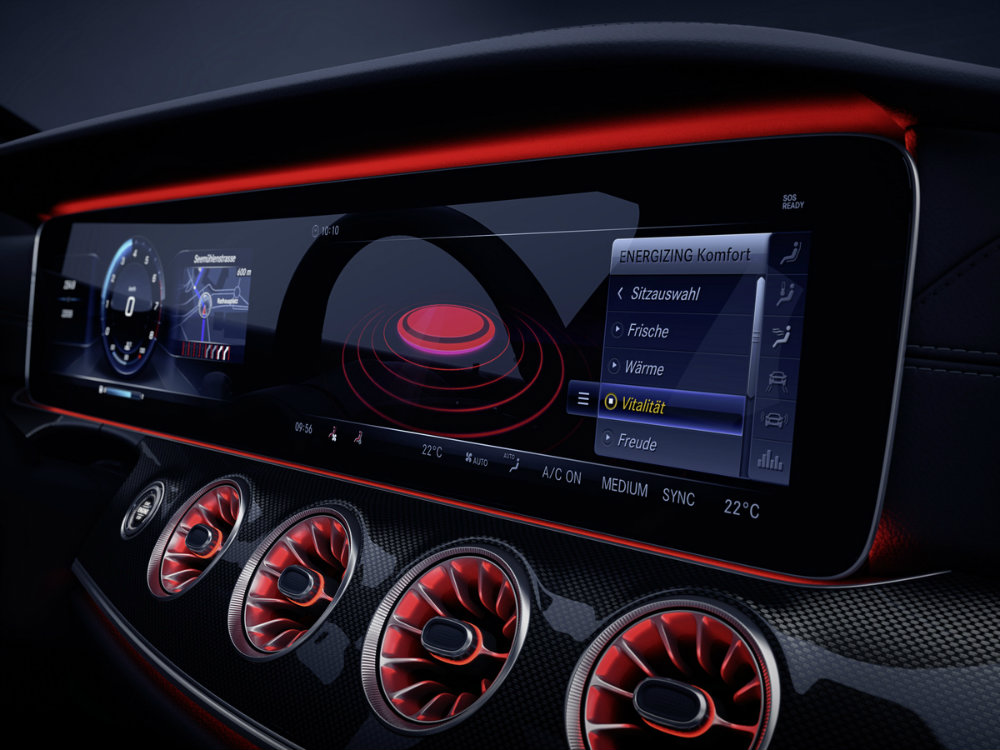 illustration of the all-new 2018 or 2019 Mercerdes-Benz CLS dashboard showing ENERGIZING Comfort settings in German