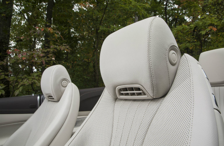 head rests on the front seats of the 2018 Mercedes-Benz E-Class Cabriolet