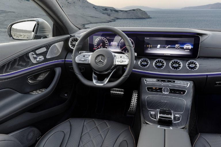 steering wheel and dashboard view of the 2019 Mercedes-Benz CLS