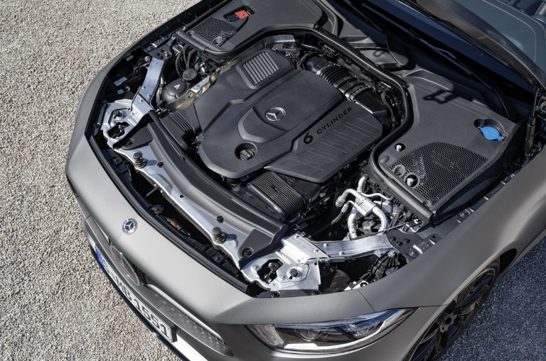 inline six-cylinder engine of the 2019 Mercedes-Benz CLS seen from above